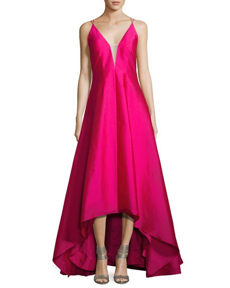 Aidan Mattox Sleeveless High-Low Taffeta Gown, Fuchsia