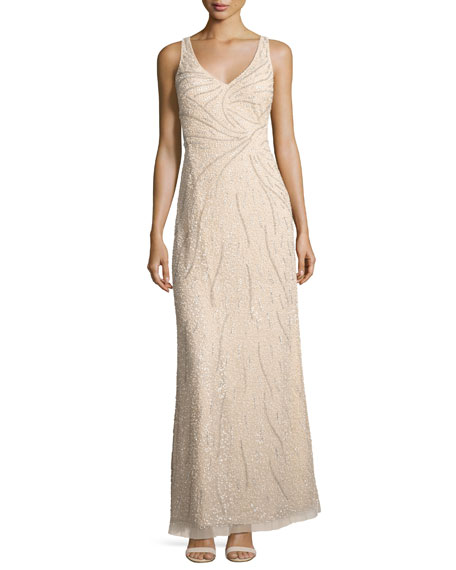 Aidan Mattox Sleeveless Beaded Tulle Gown, Champagne