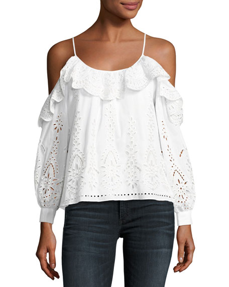 Parker Maureen Combo Embroidered Eyelet Blouse, White