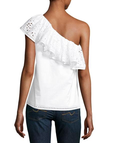Maple One-Shoulder Cotton Top, White