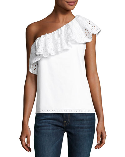 Maple One-Shoulder Cotton Top, White