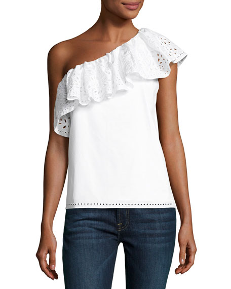 Parker Maple One-Shoulder Cotton Top, White