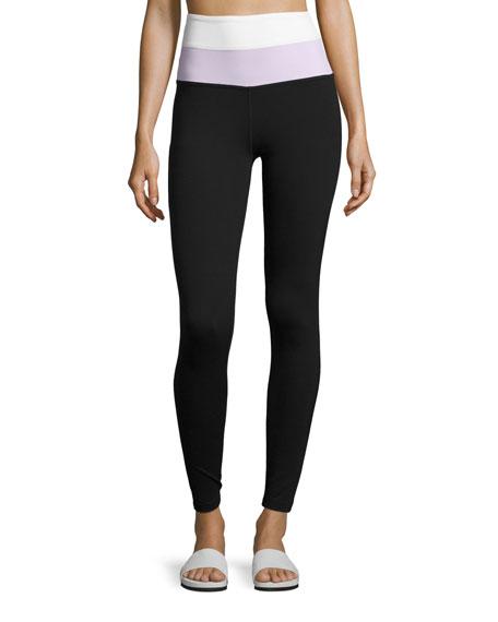 x kate spade new york blocked high-waist leggings, black/lilac/white
