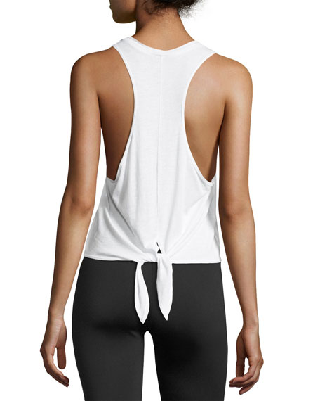 Tie-Back Athletic Muscle Tank, White