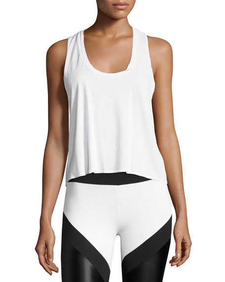 Lanston Tie-Back Athletic Muscle Tank, White