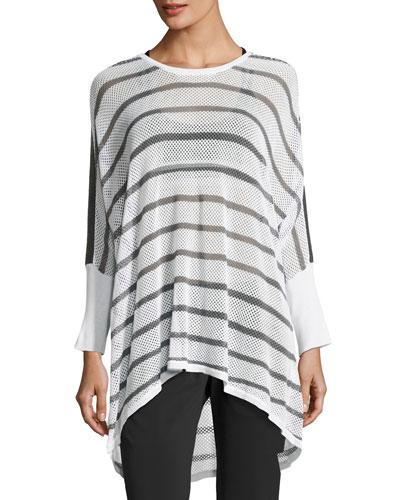 Stripe Drape Mesh Knit Sweater, White/Gray