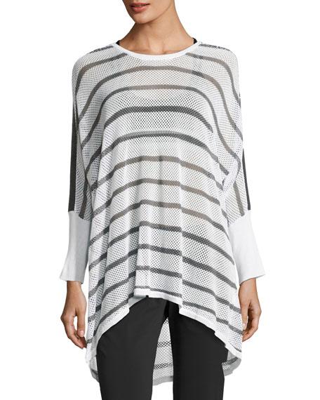 Blanc Noir Stripe Drape Mesh Knit Sweater, White/Gray