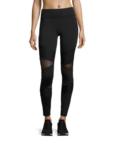 Michi Kitana Mesh-Panel Performance Leggings, Black