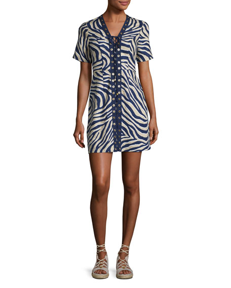 Quincy Lace-Up Zebra-Print Minidress, Khaki