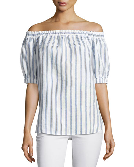 Shadow Striped Linen Off-the-Shoulder Top, Royal