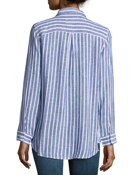 Charli Striped Long-Sleeve Shirt, Blue