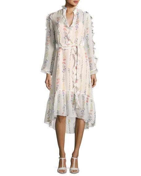 Bunty Floral-Print Midi Dress, Off White
