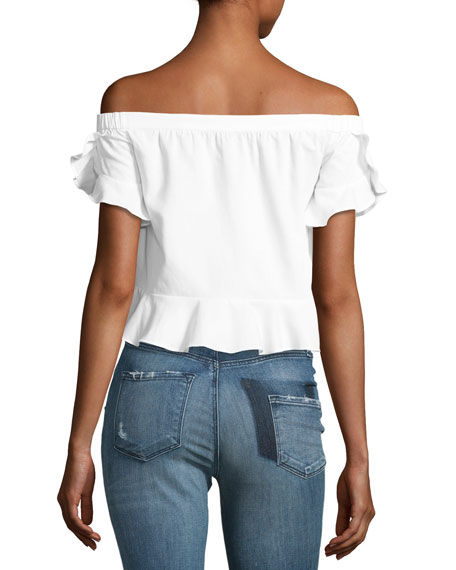 Trixy Off-the-Shoulder Ruffled Top, White