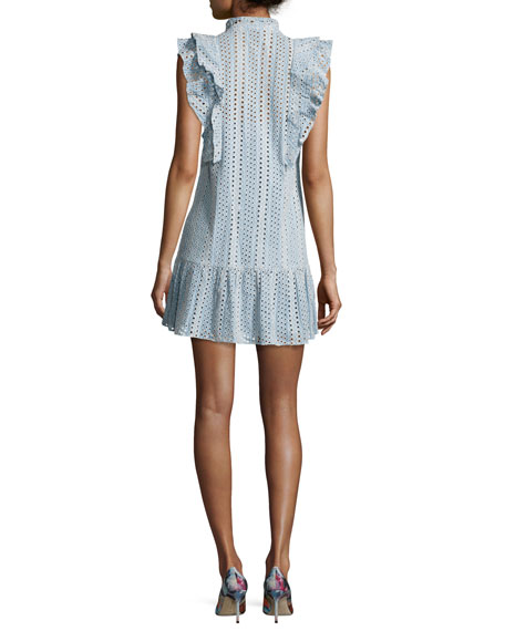 Placket Cotton Eyelet Dress, Light Blue