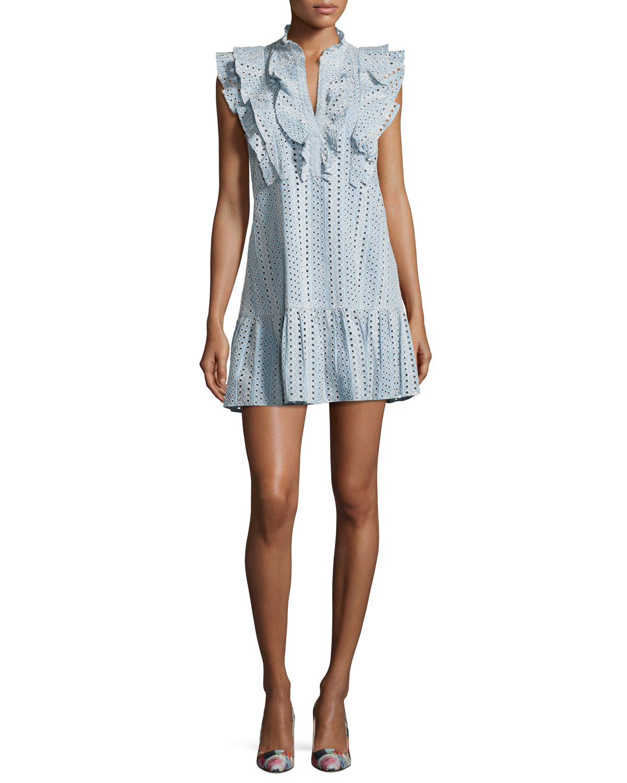BCBGMAXAZRIA Placket Cotton Eyelet Dress, Light Blue | Neiman Marcus