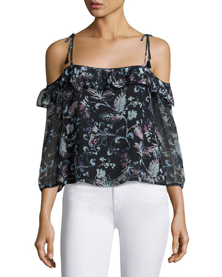 Ella Moss Dreamer Floral Cold-Shoulder Top, Black