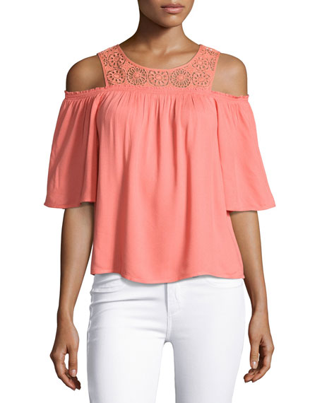 Ella Moss Medallion Crochet Cold-Shoulder Top, Coral