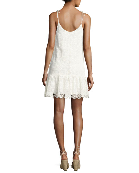 Medallion Crochet Lace Mini Dress, Neutral