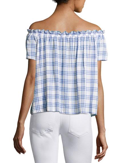 Dionne Plaid Off-the-Shoulder Top, Blue/White
