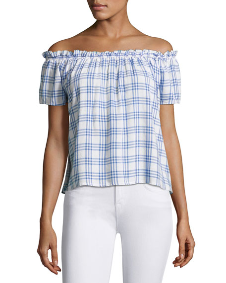 Generation Love Dionne Plaid Off-the-Shoulder Top, Blue/White