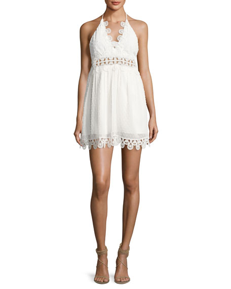 Karina Grimaldi Mimi Swiss Dot Mini Dress, White