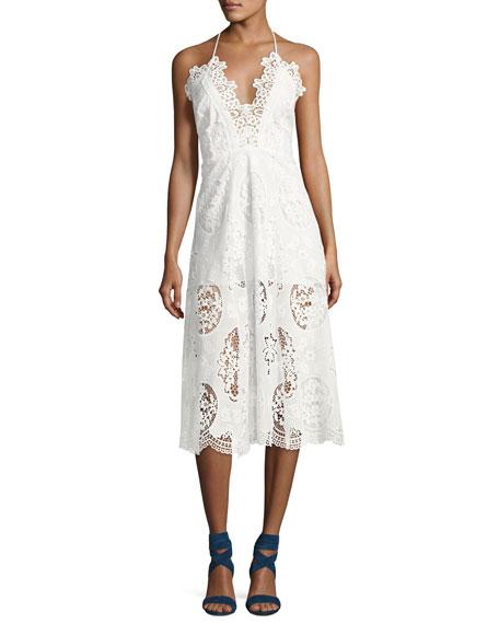 Karina Grimaldi Aubrey Lace Midi Dress, White