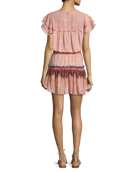 Suri Multi-Printed Tiered-Skirt Mini Dress, Pink