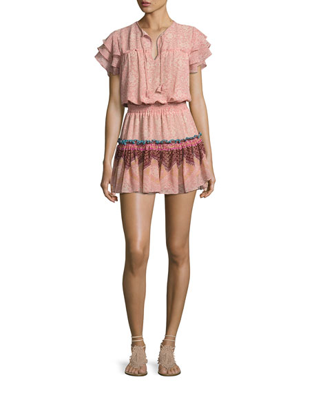 MISA Los Angeles Suri Multi-Printed Tiered-Skirt Mini Dress,