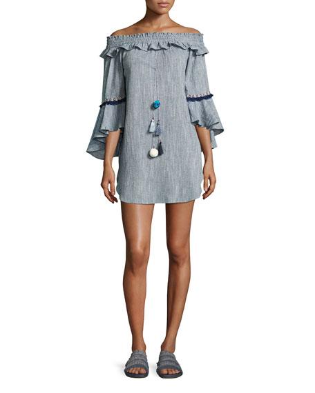 MISA Los Angeles Vanessa Off-the-Shoulder Cotton Dress, Blue