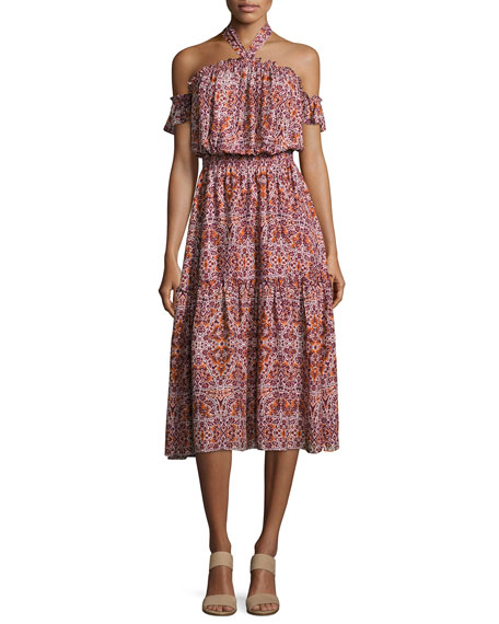 MISA Los Angeles Callie Halter-Neck Multi-Printed Midi Dress
