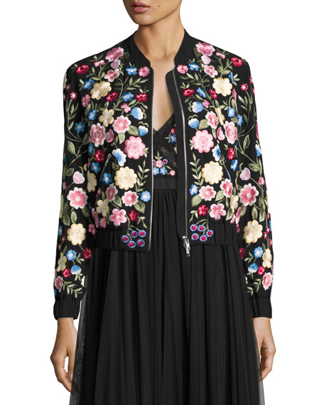 Flower Foliage Embroidered Bomber Jacket, Black