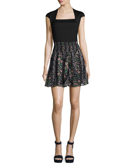 Floral Stripe Smocked-Waist Skirt, Black