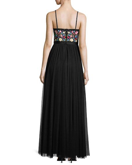 Flower Foliage Maxi Dress, Black