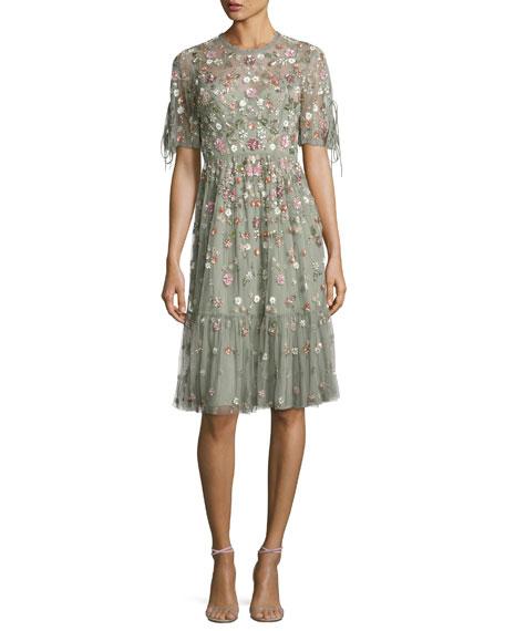 Needle & Thread Floweret Tulle Dress, Sage