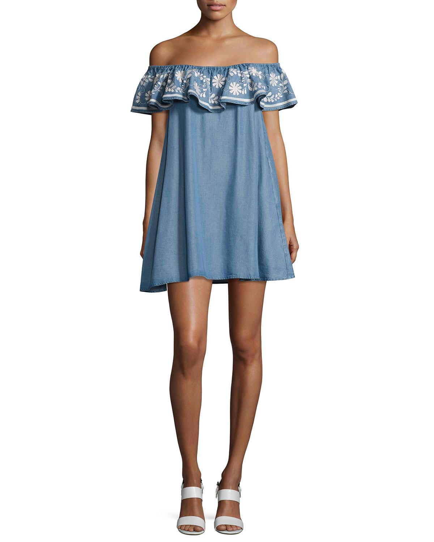 8e13b5ee479c Rebecca Minkoff Dev Chambray Off-the-Shoulder Dress