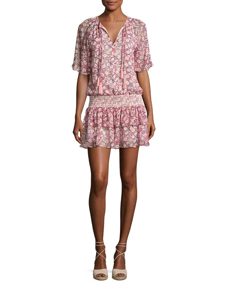 Rebecca Minkoff Pebble Floral-Print Drop-Waist Dress, Pink