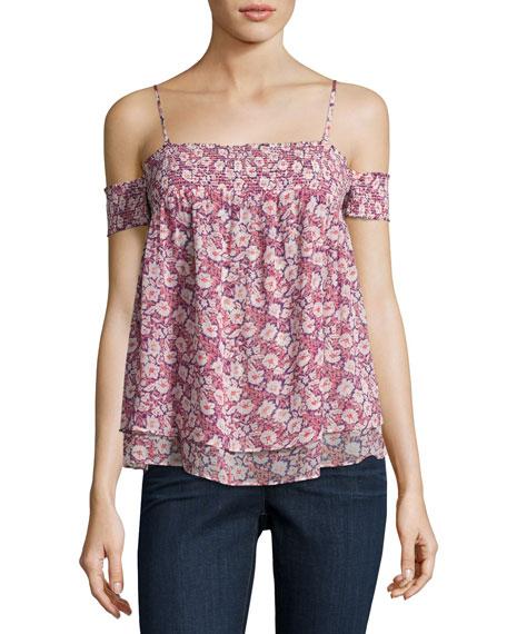 Rebecca Minkoff Pia Cold-Shoulder Floral Top, Multi Pattern/Pink