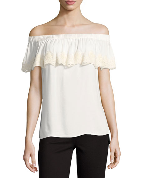 Ella Moss Trinity Off-the-Shoulder-Top, White
