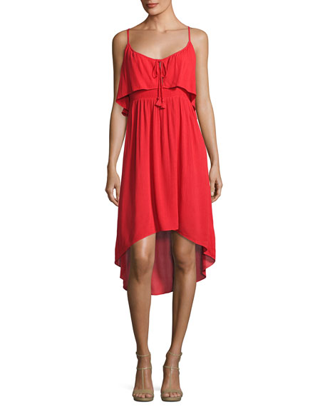 Katella Cami High-Low Dress, Red