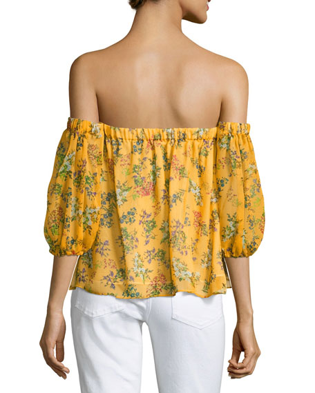 Poetic Floral Off-the-Shoulder Silk Blouse, Yellow