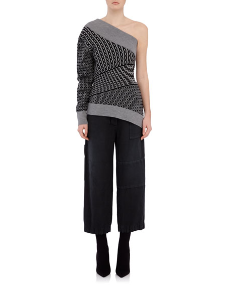 Burberry One-Sleeve Melange Sweater