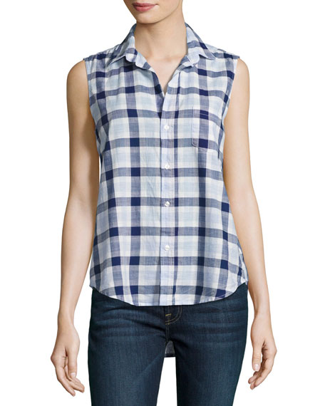 Fiona Sleeveless Grid Italian Twill Shirt, Blue
