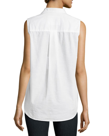 Fiona Sleeveless Italian Twill Shirt, White