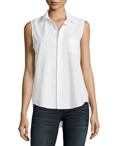Fiona Sleeveless Italian Twill Shirt, White