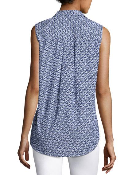 Fiona Sleeveless Floral-Print Shirt, Blue