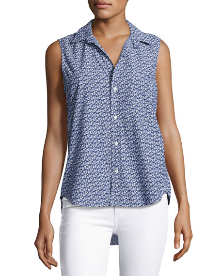 Fiona Sleeveless Floral-Print Shirt, Blue