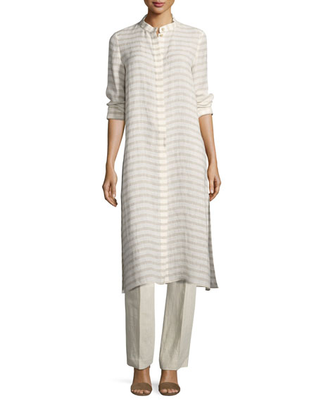 Lafayette 148 New York Auden Cardinal-Striped Stretch-Linen