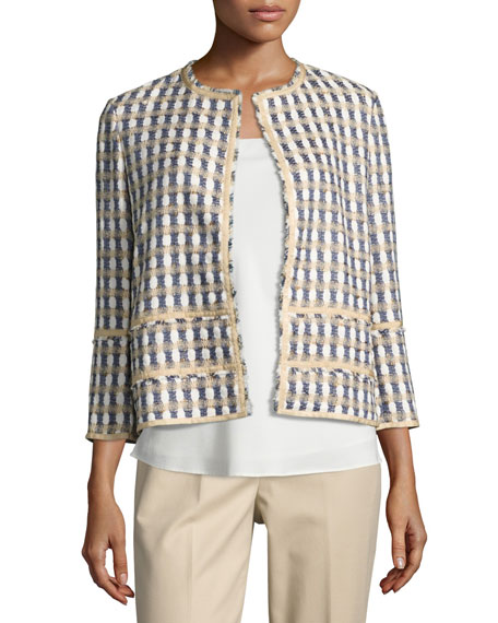Lafayette 148 New York Aisha 3/4-Sleeve Tweed Jacket,