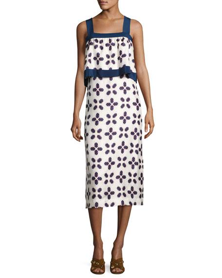 Tory Burch Avila Sleeveless Geometric-Print Popover Dress