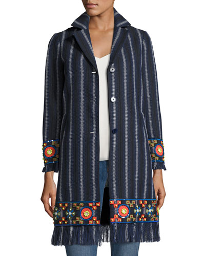 Luna Embellished Woven Topper Coat